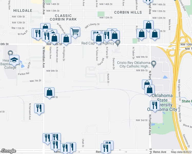 map of restaurants, bars, coffee shops, grocery stores, and more near Tulsa Cir in Oklahoma City