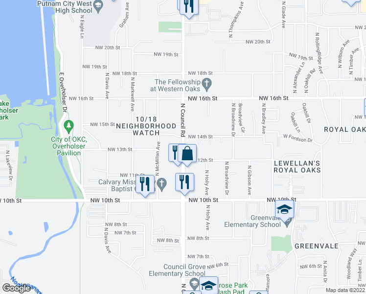 map of restaurants, bars, coffee shops, grocery stores, and more near 8012 Northwest 13th Street in Oklahoma City