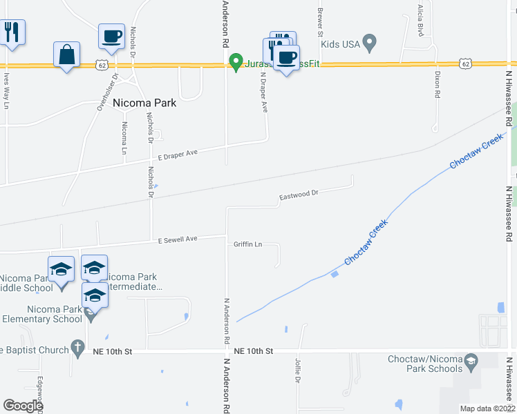 map of restaurants, bars, coffee shops, grocery stores, and more near Eastwood Drive in Choctaw