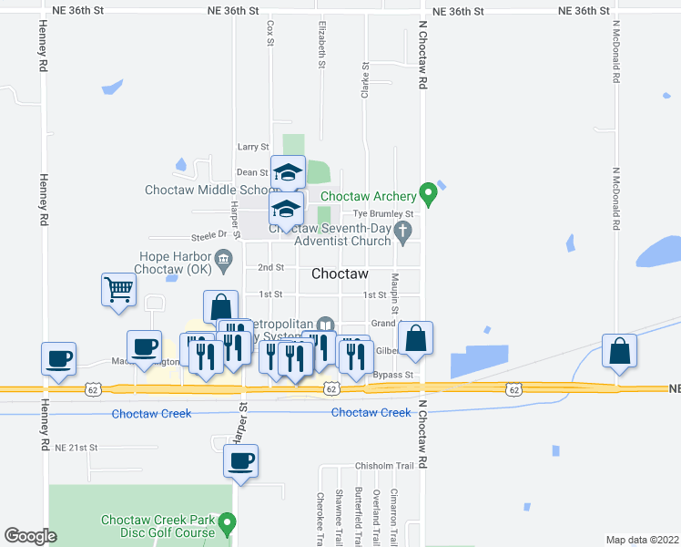 map of restaurants, bars, coffee shops, grocery stores, and more near 9917 Jamie Way in Choctaw