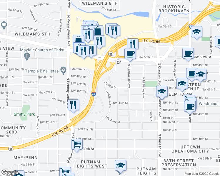 map of restaurants, bars, coffee shops, grocery stores, and more near 1722 Mattern Dr in Oklahoma City