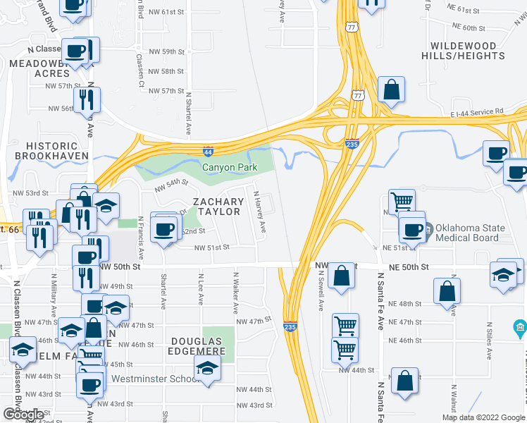 map of restaurants, bars, coffee shops, grocery stores, and more near 5301-5349 North Harvey Avenue in Oklahoma City