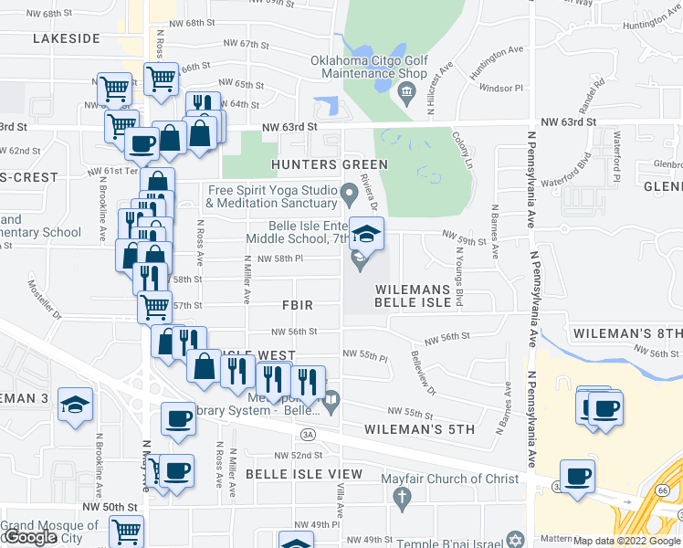 map of restaurants, bars, coffee shops, grocery stores, and more near 2506 NW 58th St in Oklahoma City