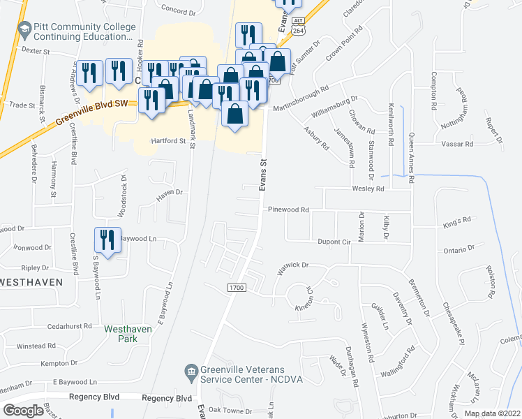 map of restaurants, bars, coffee shops, grocery stores, and more near 3306 Evans Street in Greenville