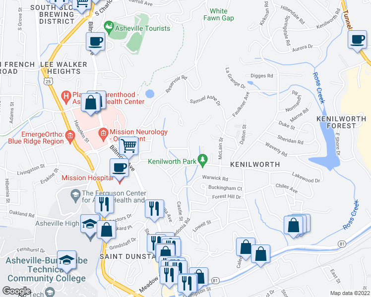 map of restaurants, bars, coffee shops, grocery stores, and more near 9 Keebler Road in