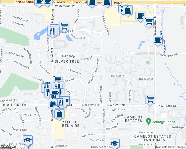 map of restaurants, bars, coffee shops, grocery stores, and more near 12713 Meadows Drive in Oklahoma City