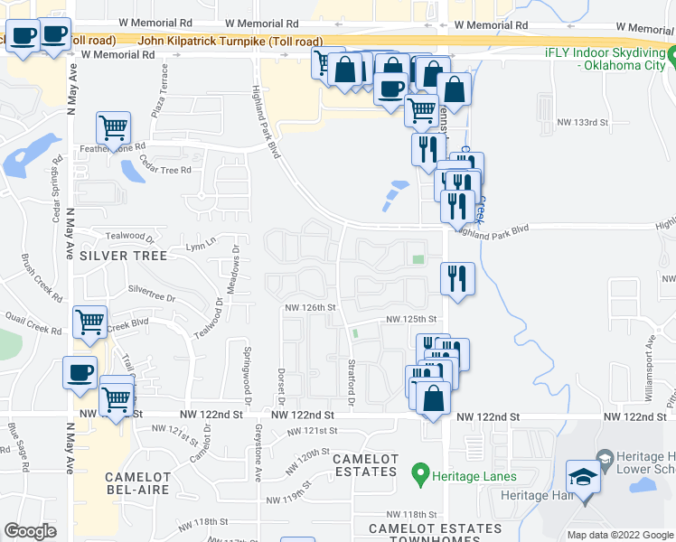 map of restaurants, bars, coffee shops, grocery stores, and more near 12740-12796 North Stratford Drive in Oklahoma City