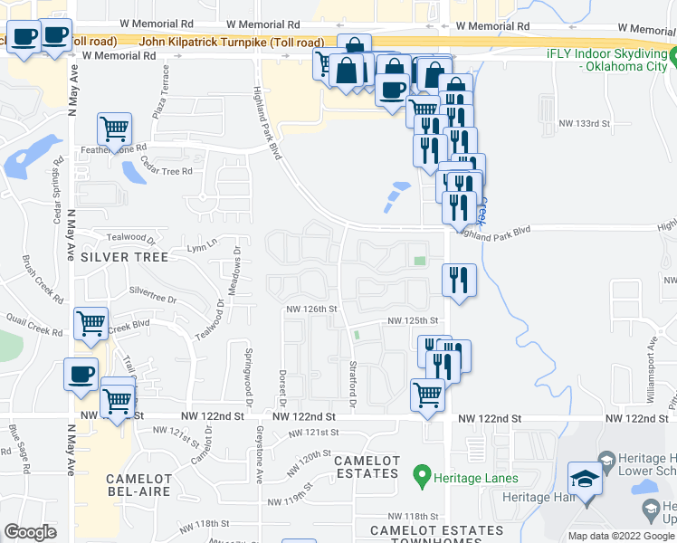 map of restaurants, bars, coffee shops, grocery stores, and more near 12956-12974 Stratford Dr in Oklahoma City