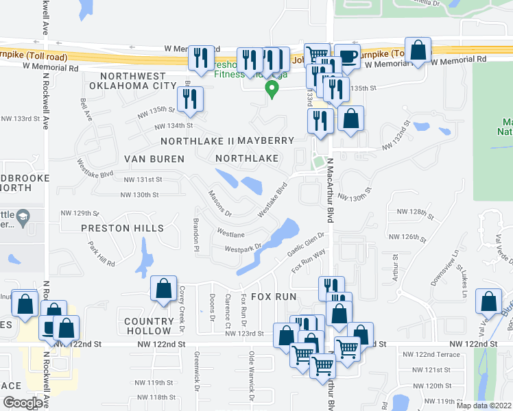 map of restaurants, bars, coffee shops, grocery stores, and more near 6210 Masons Drive in Oklahoma City