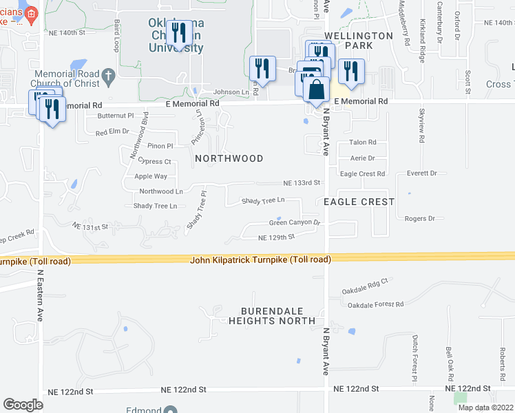 map of restaurants, bars, coffee shops, grocery stores, and more near 2712 Shady Tree Lane in Edmond