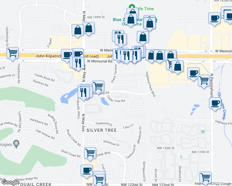 map of restaurants, bars, coffee shops, grocery stores, and more near 2630 Featherstone Road in Oklahoma City