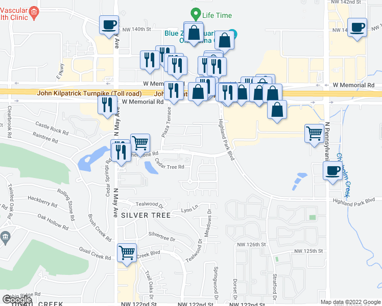 map of restaurants, bars, coffee shops, grocery stores, and more near 2609 Featherstone Road in Oklahoma City