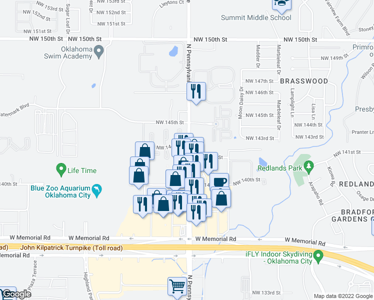 map of restaurants, bars, coffee shops, grocery stores, and more near 14337 North Pennsylvania Avenue in Oklahoma City