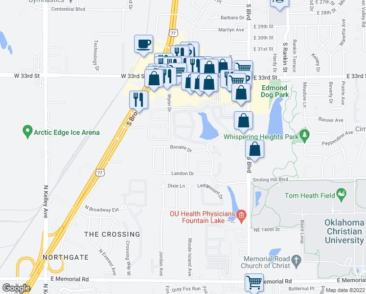 map of restaurants, bars, coffee shops, grocery stores, and more near 113 Bonaire Dr in Edmond