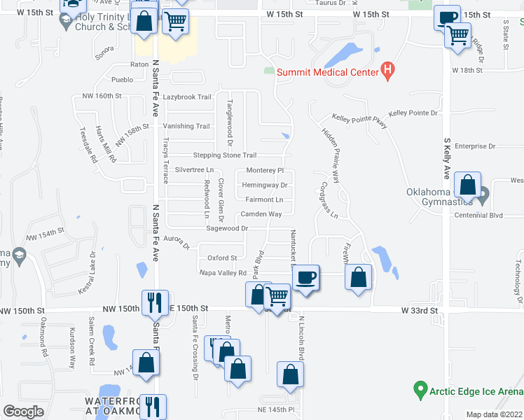 map of restaurants, bars, coffee shops, grocery stores, and more near 1809 Sagewood Drive in Edmond