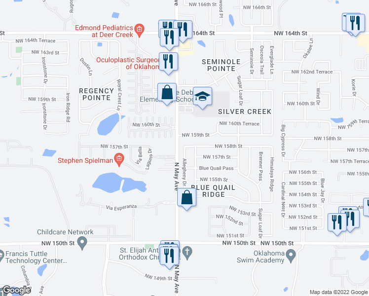 map of restaurants, bars, coffee shops, grocery stores, and more near 4709 Northwest 158th Street in Edmond