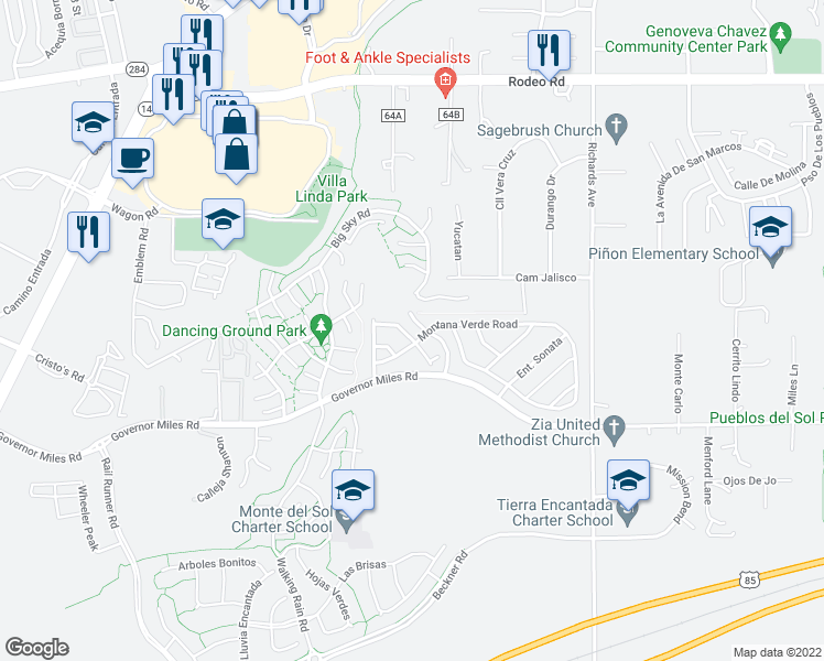 map of restaurants, bars, coffee shops, grocery stores, and more near 4080 Sandia Vista Road in Santa Fe
