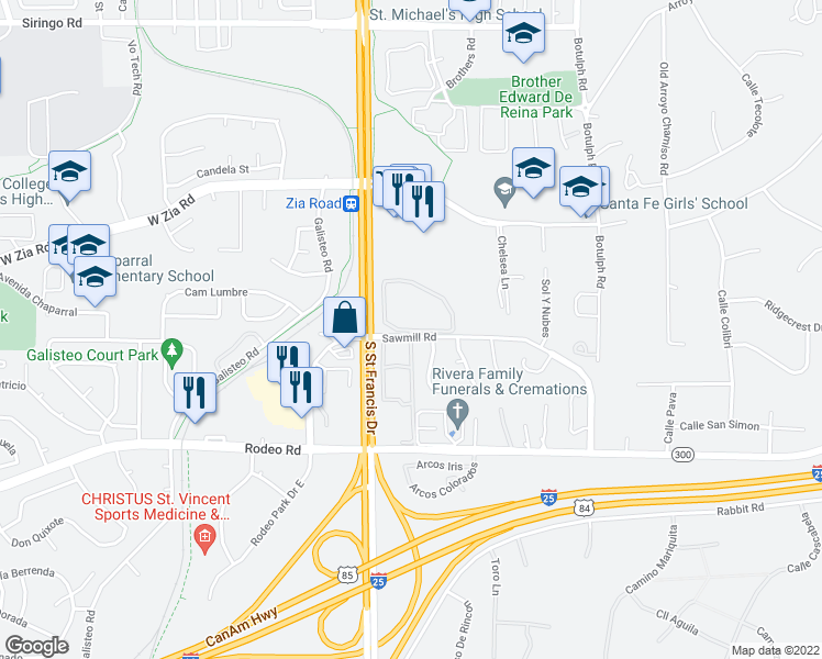 map of restaurants, bars, coffee shops, grocery stores, and more near 2500 Sawmill Road in Santa Fe