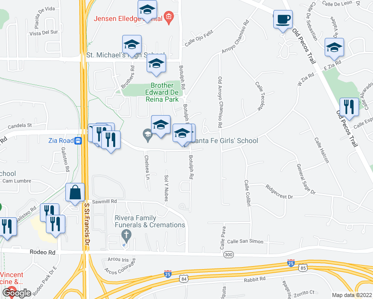 map of restaurants, bars, coffee shops, grocery stores, and more near 310 West Zia Road in Santa Fe