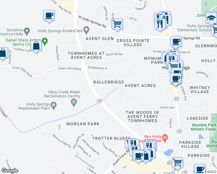 map of restaurants, bars, coffee shops, grocery stores, and more near 400 Sturminster Dr in Holly Springs
