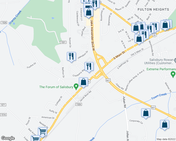map of restaurants, bars, coffee shops, grocery stores, and more near 126 Sunset Drive in Salisbury