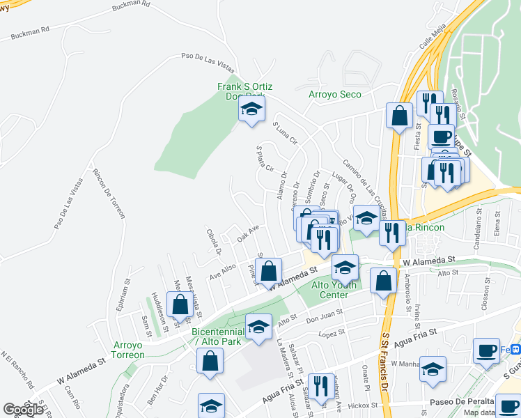 map of restaurants, bars, coffee shops, grocery stores, and more near 1102 Caminito Alegre in Santa Fe