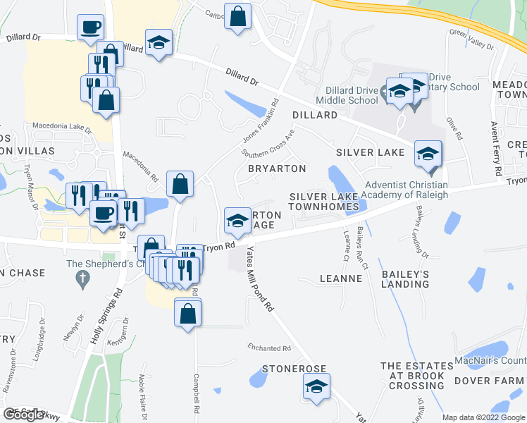map of restaurants, bars, coffee shops, grocery stores, and more near 2518 Asher View Ct in Raleigh