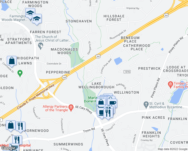 map of restaurants, bars, coffee shops, grocery stores, and more near 522 Renshaw Court in Cary
