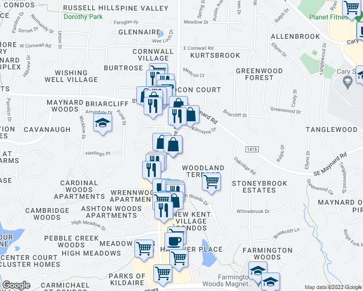map of restaurants, bars, coffee shops, grocery stores, and more near 1135 Kildaire Farm Road in Cary