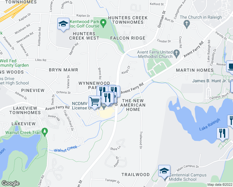 map of restaurants, bars, coffee shops, grocery stores, and more near Gorman St & Avent Ferry Rd in Raleigh