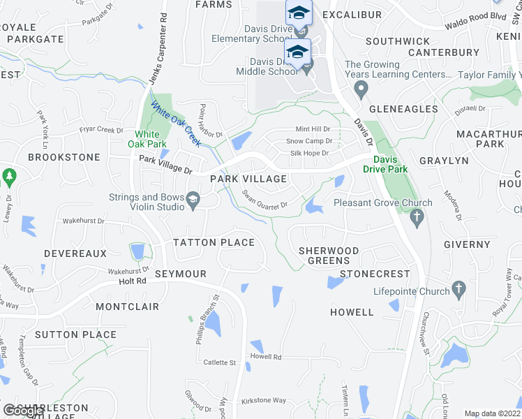 map of restaurants, bars, coffee shops, grocery stores, and more near Park Village Greenway in Cary