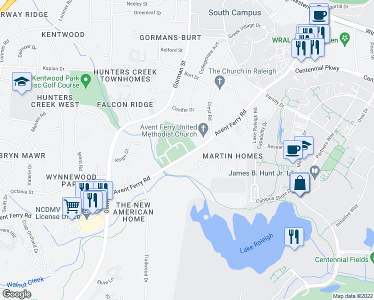 map of restaurants, bars, coffee shops, grocery stores, and more near 2704 Brigadoon Drive in Raleigh