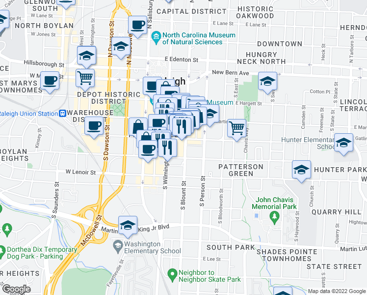 map of restaurants, bars, coffee shops, grocery stores, and more near 444 South Blount Street in Raleigh