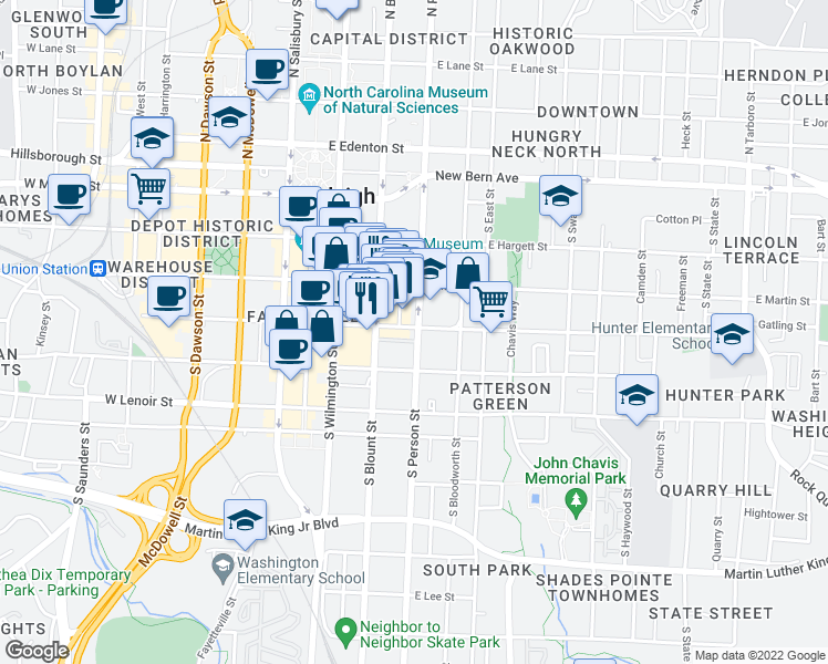 map of restaurants, bars, coffee shops, grocery stores, and more near 286 East Davie Street in Raleigh