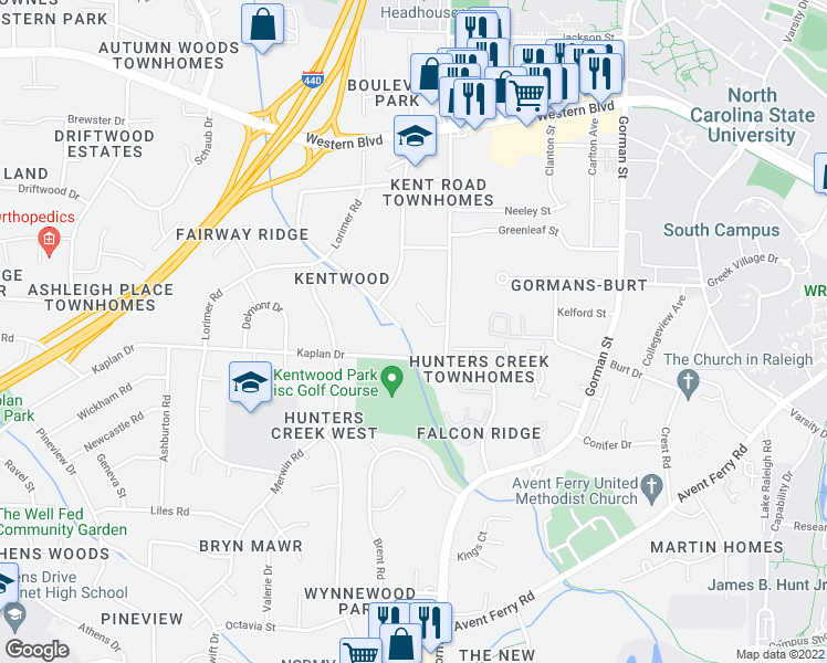 map of restaurants, bars, coffee shops, grocery stores, and more near 1417 Onslow Rd in Raleigh