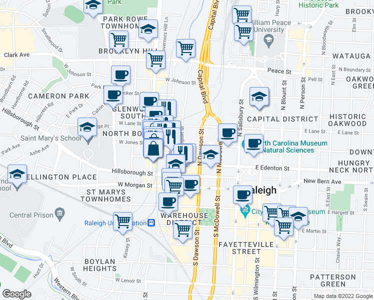 map of restaurants, bars, coffee shops, grocery stores, and more near 323 West Jones Street in Raleigh