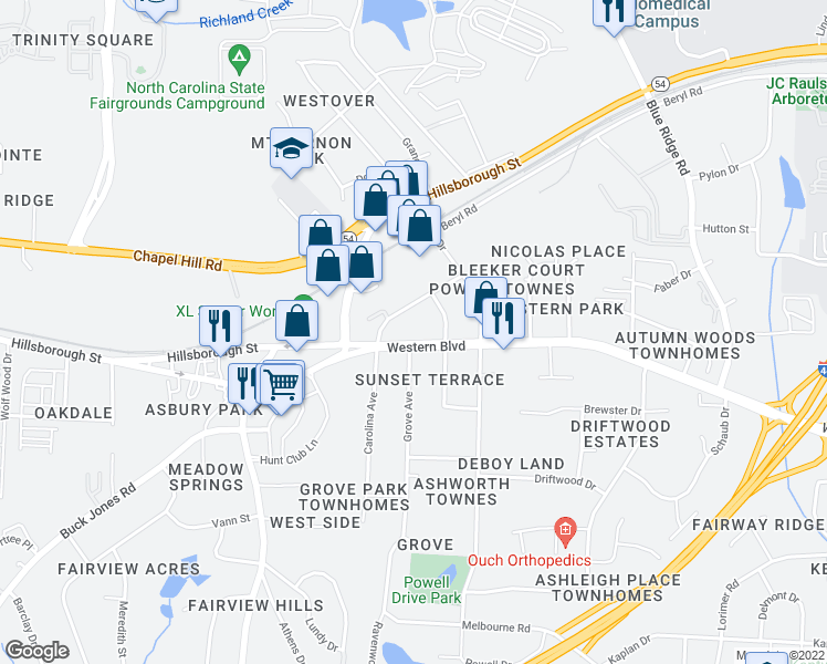 map of restaurants, bars, coffee shops, grocery stores, and more near 5310 Western Blvd in Raleigh
