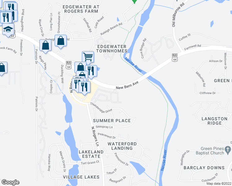 map of restaurants, bars, coffee shops, grocery stores, and more near 1020 River Shadow Court in Raleigh