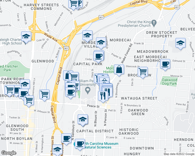 map of restaurants, bars, coffee shops, grocery stores, and more near 911 North Blount Street in Raleigh