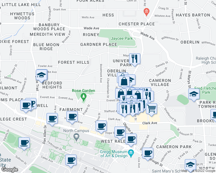 map of restaurants, bars, coffee shops, grocery stores, and more near Chamberlain St in Raleigh