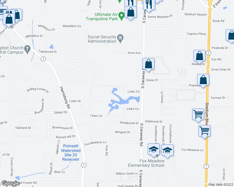 map of restaurants, bars, coffee shops, grocery stores, and more near 1424 Links Circle in Jonesboro