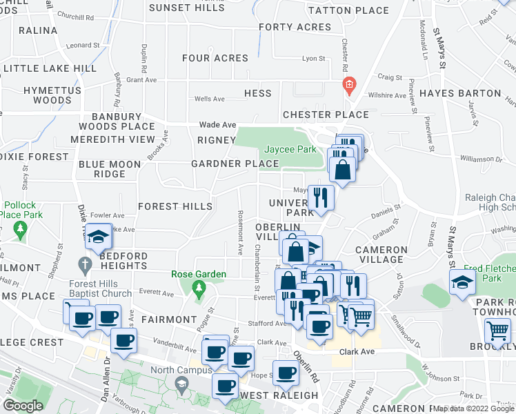 map of restaurants, bars, coffee shops, grocery stores, and more near 2410 Van Dyke Avenue in Raleigh