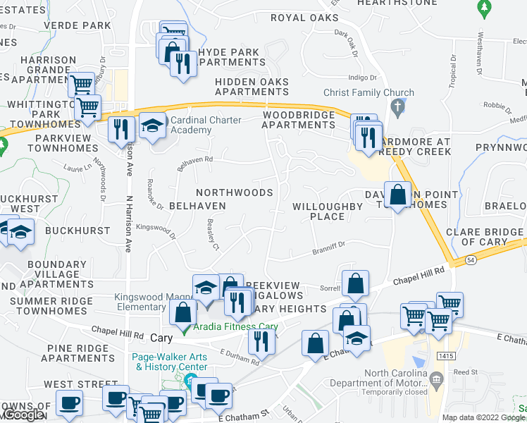 map of restaurants, bars, coffee shops, grocery stores, and more near 110 King James Court in Cary
