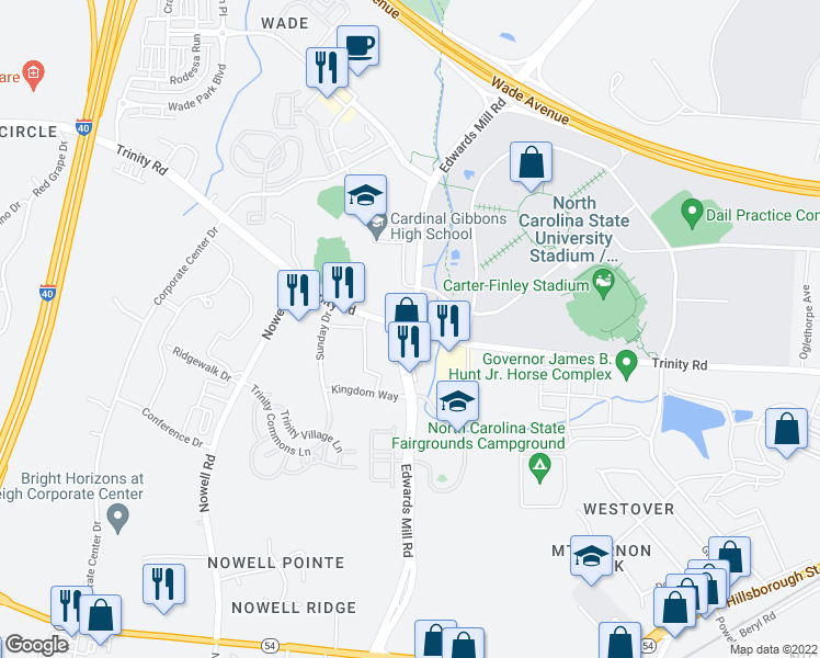map of restaurants, bars, coffee shops, grocery stores, and more near Edwards Mill Rd & Trinity Rd in Raleigh