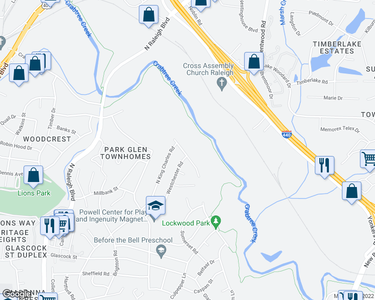 map of restaurants, bars, coffee shops, grocery stores, and more near 1432 Crabtree Boulevard in Raleigh