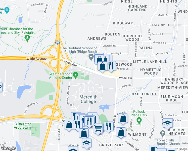 map of restaurants, bars, coffee shops, grocery stores, and more near 1200 Ridge Road in Raleigh