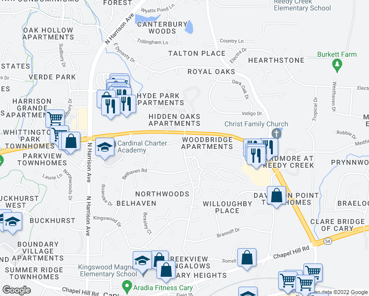 map of restaurants, bars, coffee shops, grocery stores, and more near 200 Coconut Mews in Cary