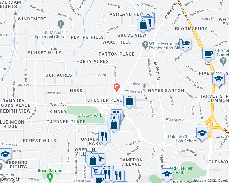 map of restaurants, bars, coffee shops, grocery stores, and more near 1321 Chester Rd in Raleigh