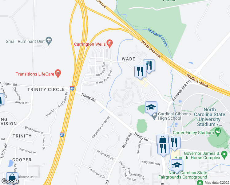 map of restaurants, bars, coffee shops, grocery stores, and more near 5501 Creek Ridge Ln in Raleigh