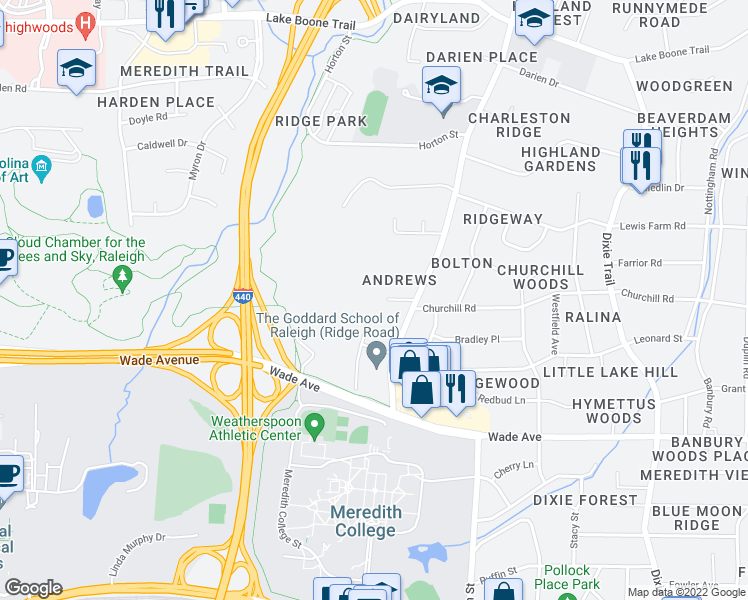 map of restaurants, bars, coffee shops, grocery stores, and more near 3515 Andrews Lane in Raleigh